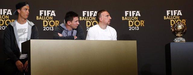 Cristiano Ronaldo, Messi y Ribery en el Balón de Oro