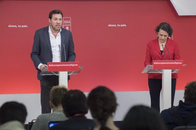 Rueda de prensa de Óscar Puente y Magdalena Valerio en Ferraz