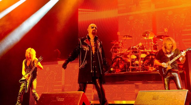 Image #: 36854695    Musician Richie Faulkner, vocalist Rob Halford, musicians G
