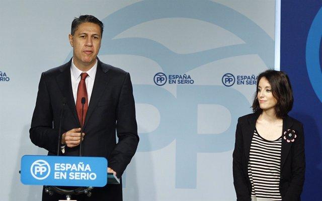 Xavier García Albiol y Andrea Levy en la sede nacional del PP
