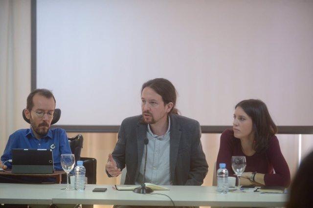 Pablo Iglesias, Pablo Echenique e Irene Montero en el CCE de Podemos