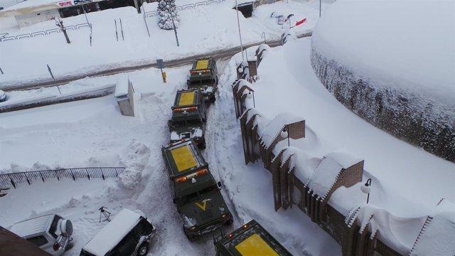 UME, Unidad Militar de Emergencia, temporal, nieve, nevar, frío, invierno