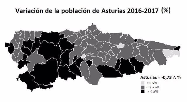 Mapa De Asturias Concejos.La Perdida De Poblacion Afecto A 74 De Los 78 Concejos