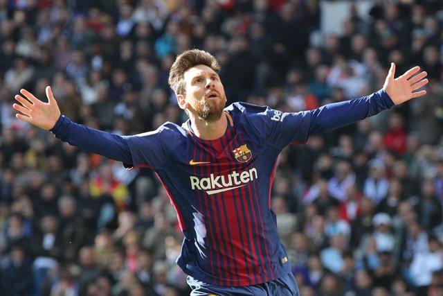 Messi celebra un gol en el Bernabéu