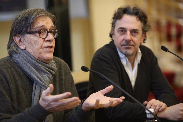Josep Maria Flotats y Pere Ponce en la presentación de la obra Voltaire/Rousseau