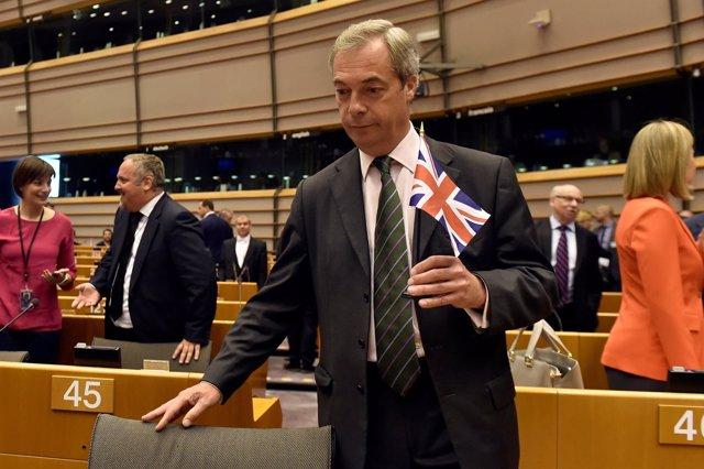 Nigel Farage, en la Eurocámara