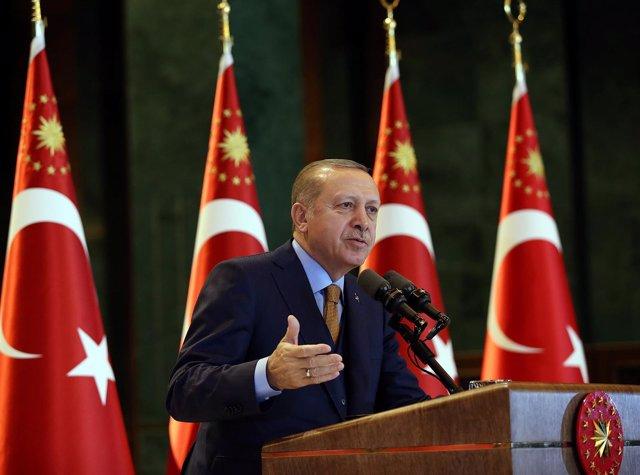 El presidente turco Recep Tayyip Erdogan en el Complejo presidencial de Turquía