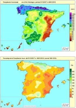 Distribución de lluvias acumuladas en el conjunto de España hasta el 9 de enero