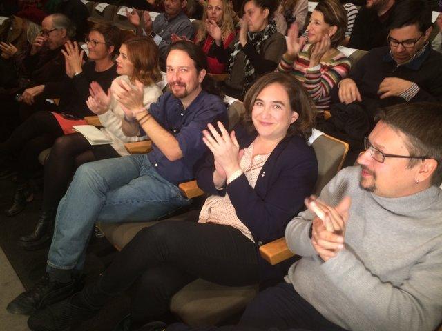Elisenda Alamany, Pablo Iglesias,  Ada Colau i Xavier Domènech