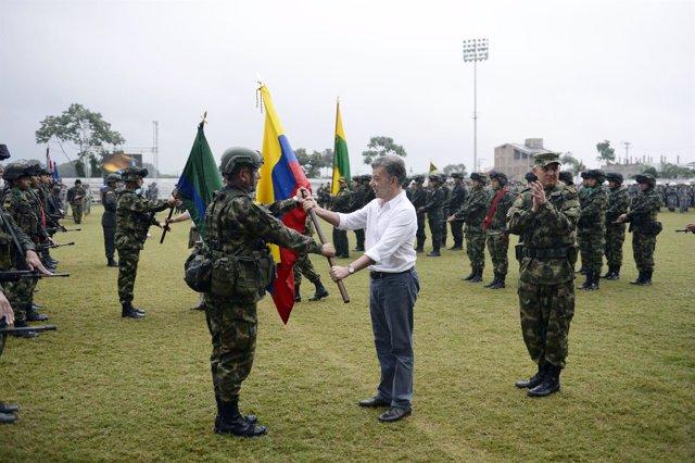 Juan Manuel Santos con la tropa colombiana en Tumaco