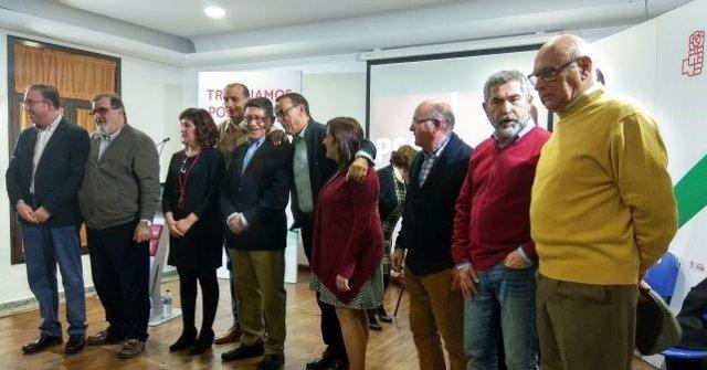 Ignacio Caraballo, y José Rodríguez de la Borbolla en un acto en Aracena
