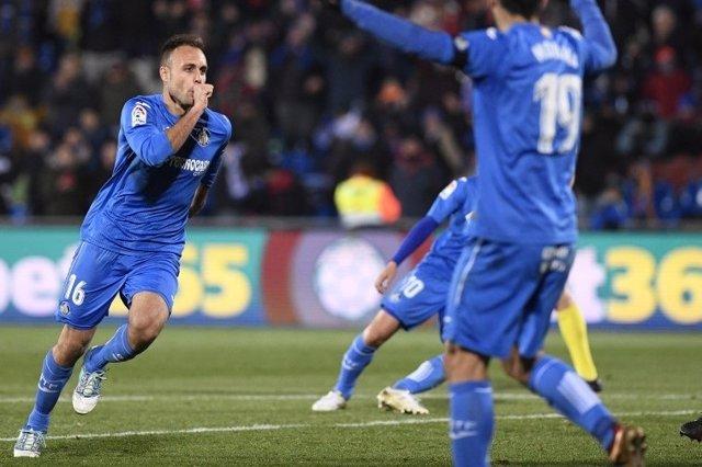 Juan Cala celebra un gol con el Getafe