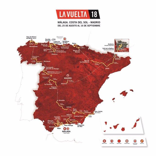 Cartel recorrido de la Vuelta a España de 2018