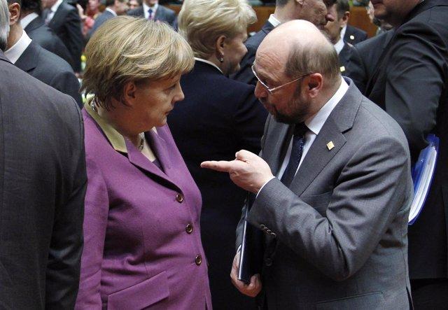 Angela Merkel Con Martin Schulz