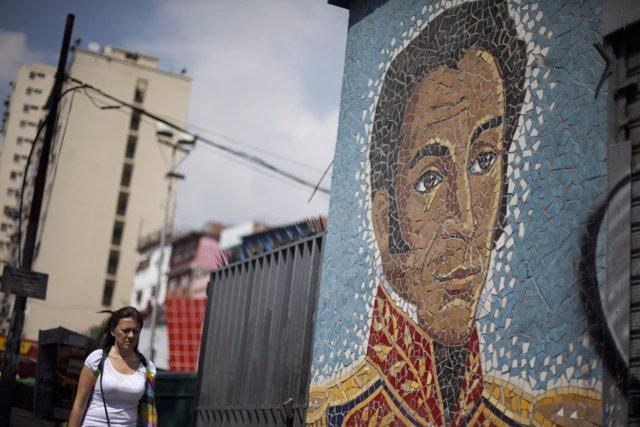 Mural de Simón Bolívar en Venezuela