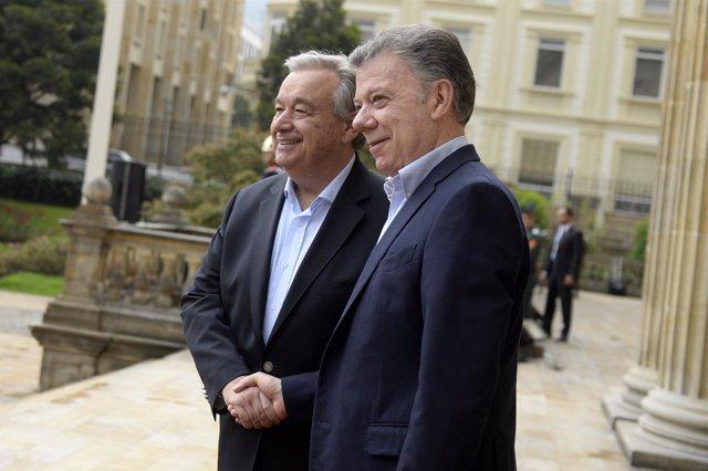 Guterres y Santos en Bogotá