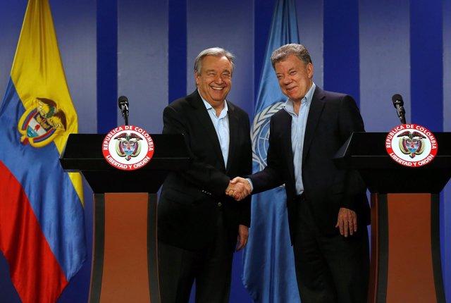 António Guterres y Juan Manuel Santos