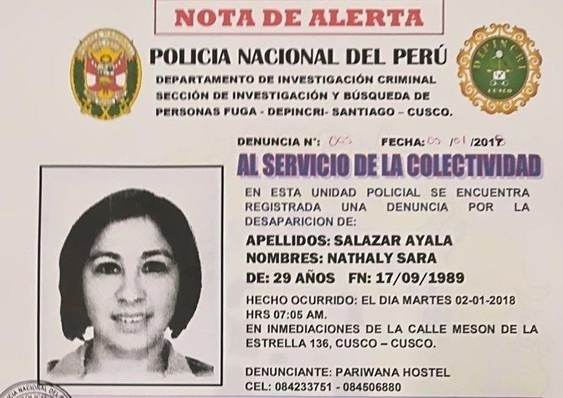 Dos detenidos por la desaparición de la turista española Nathaly Salazar en Perú