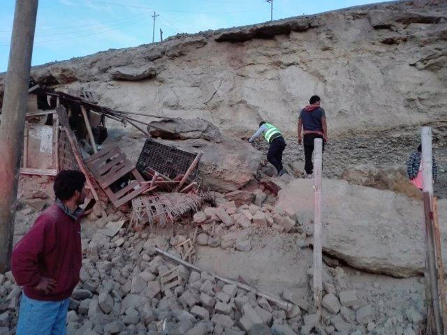 Zona afectada por el terremoto en el sur de Perú