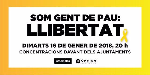 Cartel de la movilización por la libertad de Sànchez y Cuixart