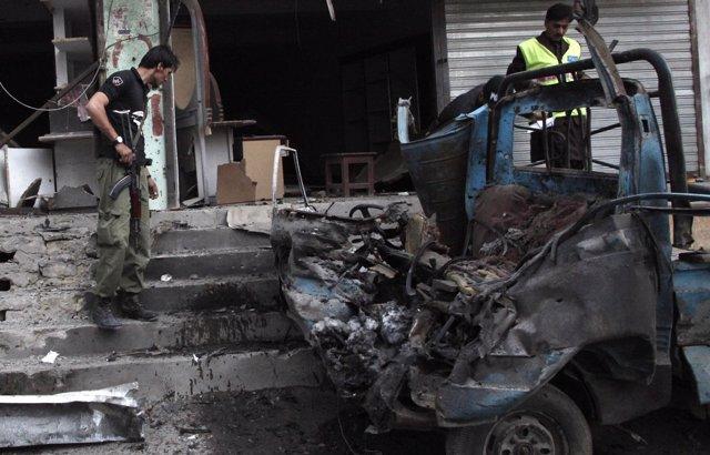 La zona de un atentado suicida perpetrado en Quetta