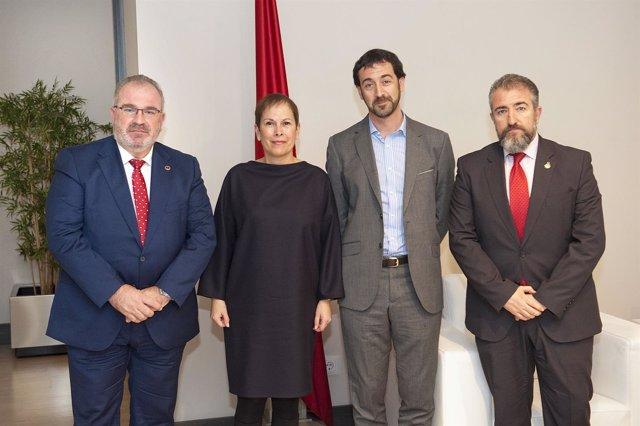 Sánchez, Presidenta Barkos, Baraibar y Folguera.