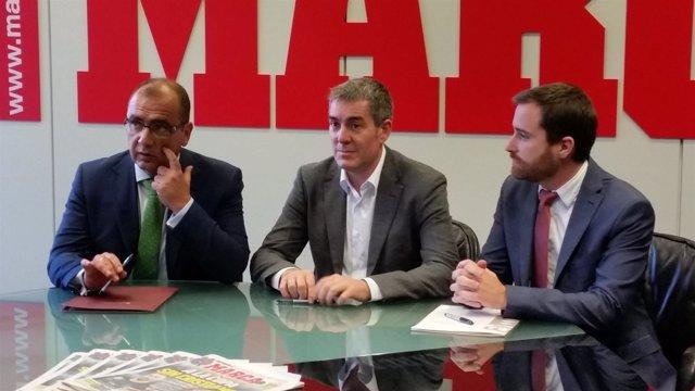 Juan Ignacio Gallardo, Fernando Clavijo e Isaac Castellano en la sede de Marca