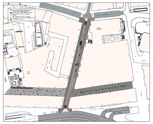 Plano de la actuación en la calle Cervantes