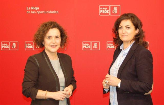 Las portavoces socialistas Concha Andreu y Beatriz Arráiz