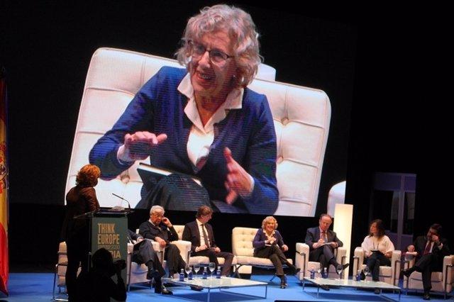 La alcaldesa de Madrid, Manuela Carmena, en Soria