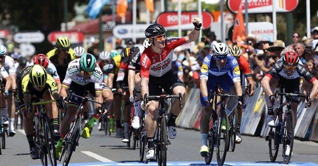 Greipel celebra su triunfo en el Tour Down Under