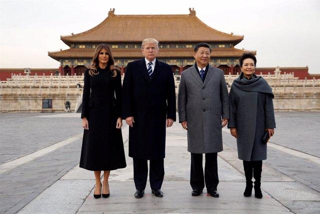 Donald Trump y Xi Jinping junto a sus esposas en la Ciudad Prohibida