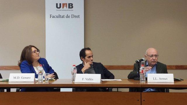 M.D.Genaro (Tribunal de Cuentas) prof.F.Vallès, L.Armet (Tribunal de Cuentas)