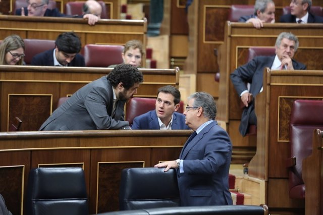 Miguel Gutiérrez, Albert Rivera y Zoido en el Congreso