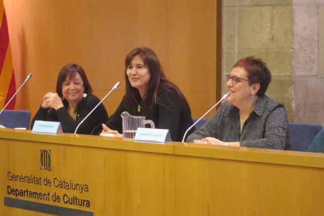 Anna Maria Villalonga, Laura Borràs, y Adelais de Pedrolo