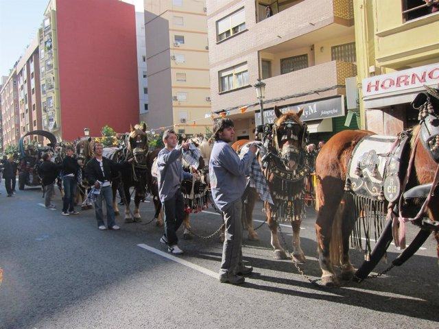 Uno De Los Carros Que Han Asistido A La Bendición De Animales En Valencia