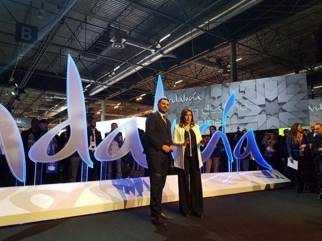 Susana Díaz y Francisco Javier Fernández, en Fitur 2017.