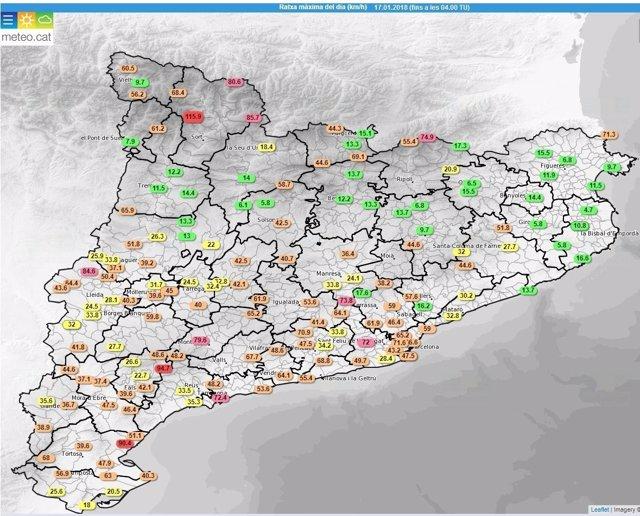 Mapa de rachas de viento en Catalunya