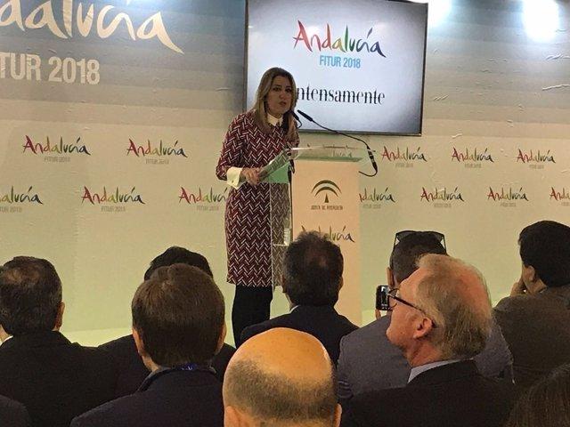 Comparecencia de Susana Díaz en el pabellón de Andalucía en Fitur