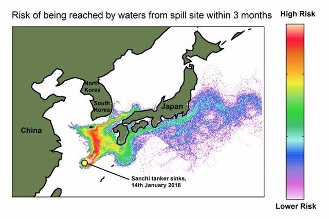 El crudo vertido por el petrolero 'Sanchi' podría alcanzar Japón en un mes