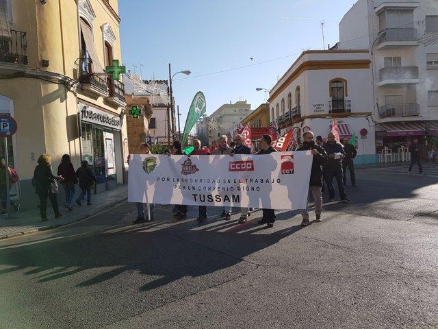 Protesta de los trabajadores de Tussam.