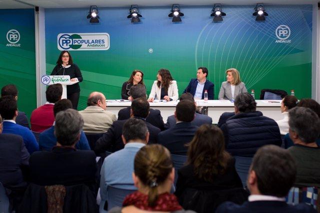 Virginia Pérez ante la Junta Directiva del PP-A.