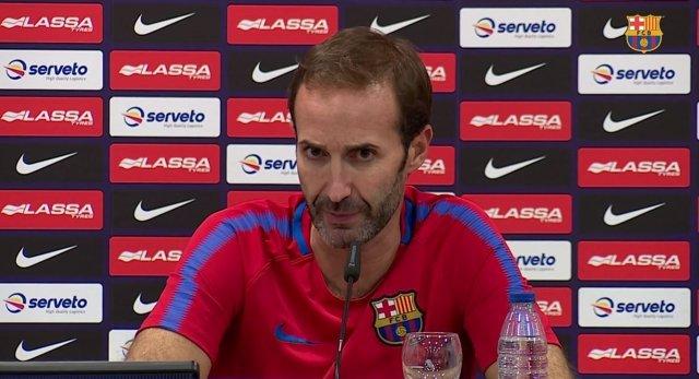 Sito Alonso, entrenador del FC Barcelona Lassa en rueda de prensa