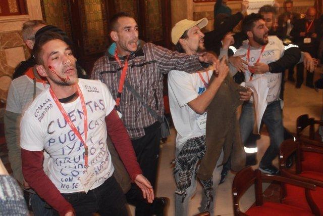 Protesta de los miembros de la Corrala.