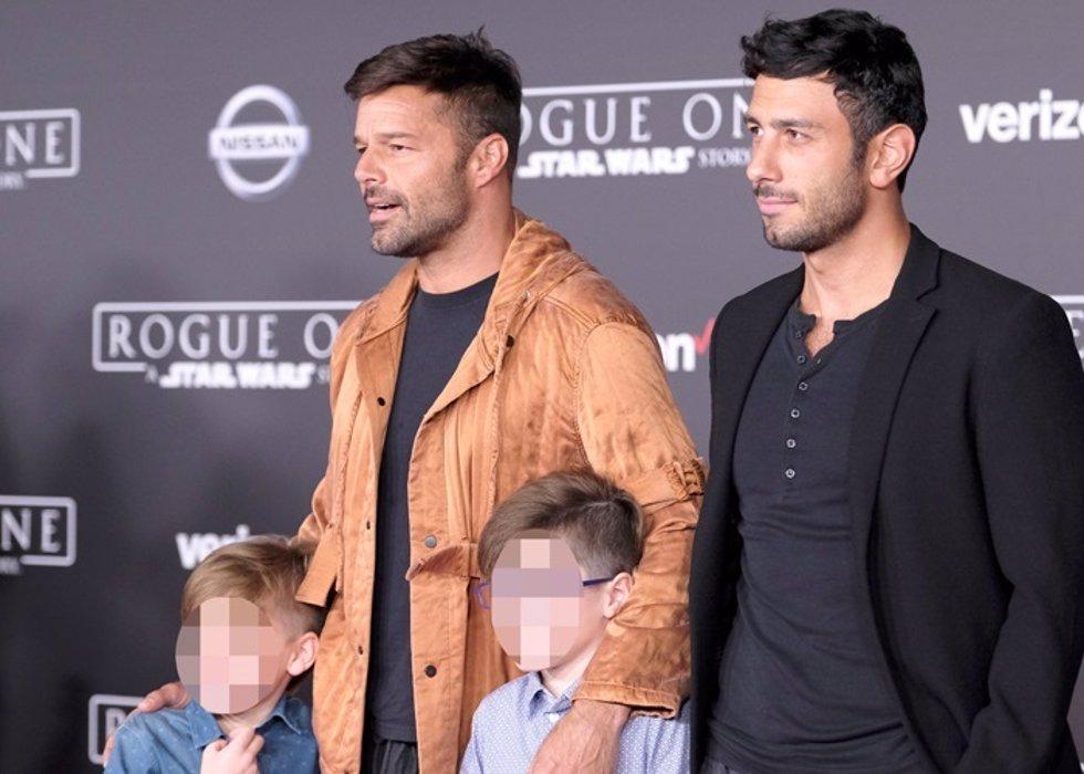 Ricky Martin, su marido y sus hijos Valentino y Matteo