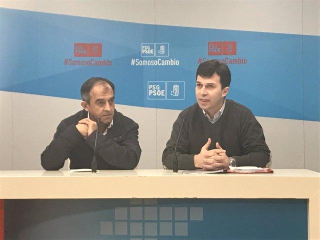 Gonzalo Caballero y José Antonio Gómez en la rueda de prensa