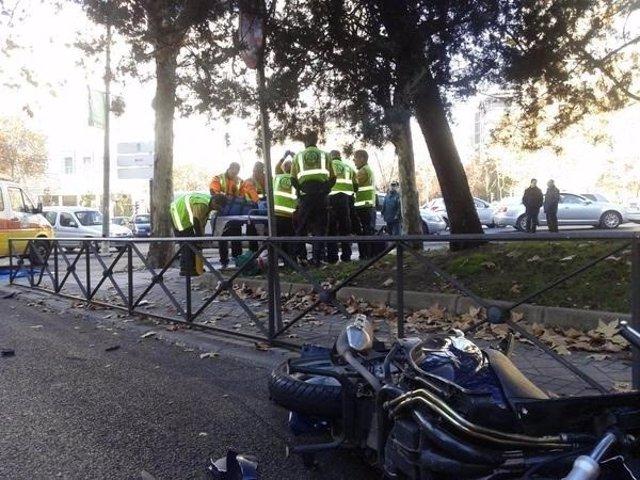Accidente de moto en la Castellana.