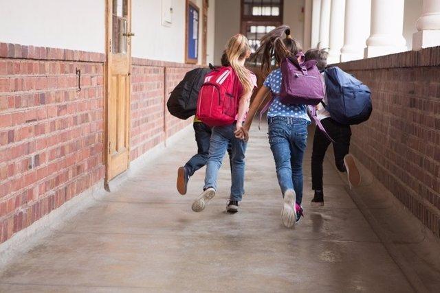 Niños, cole, colegio, escuela, mochilas