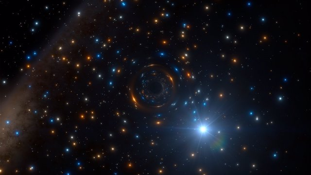 Impresión artística del sistema binario con agujero negro en NGC 3201