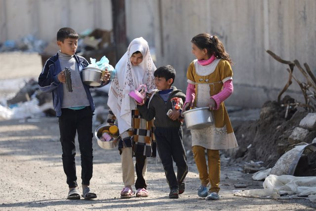 Niños iraquíes en Mosul